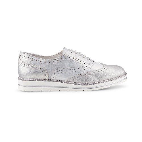 Cox Damen Damen Oxford-Schnürschuh, silberner Leder Schnürer mit schicker Lyra-Lochung Silber Leder 40