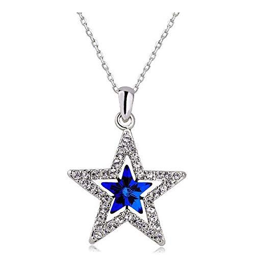 Haoda Unisex Fünfzackigen Stern-Saphir-Kristall-Hängende Halskette, Art Und Weise Silber Swarovski Element Kristall-Höhle-Stern Schmuck -