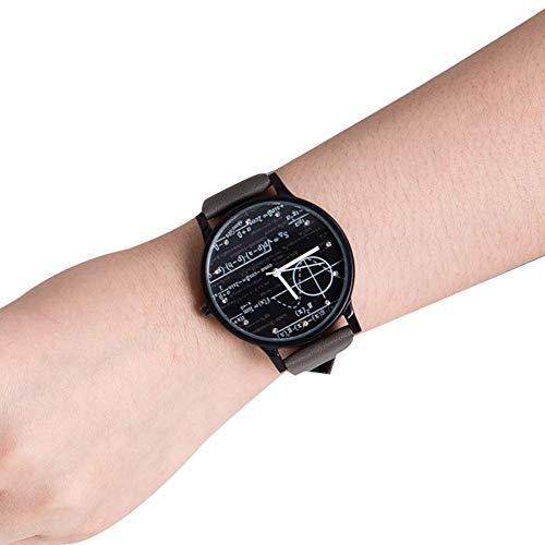 Creative Sports Wristwatch matemáticas y geométrica Figure Pattern Dial Plate Casual Watch PU Strap Cuarzo Wristwatch para Caballero étudiants-Noir Placa Gris Correas
