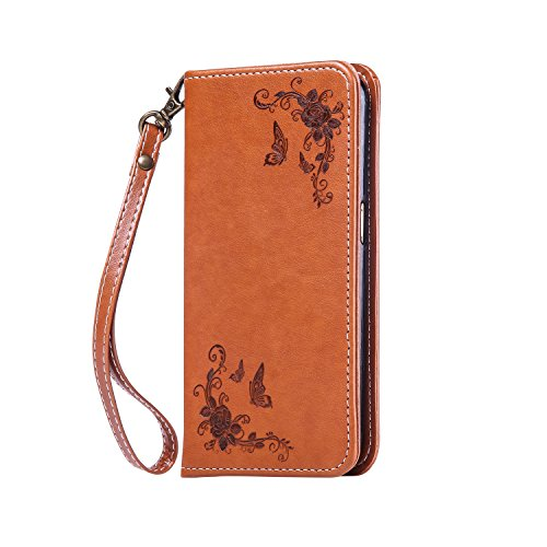 Lomogo LG G3 Hülle Leder, Schutzhülle Brieftasche mit Kartenfach Klappbar Magnetverschluss Stoßfest Kratzfest Handyhülle Case für LG G3 (D855) - HOHA22744 Braun