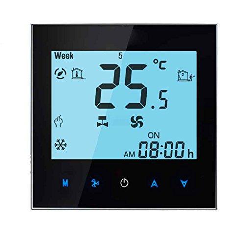 Zentrale Klimaanlage Touchscreen Temperaturregler Timing-programmierbare Thermostat Weiß-Hintergrundbeleuchtung 2 Rohr Republe