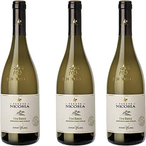 Etna Bianco Fondo Filara | Biologico | Tenute Nicosia | Vino Bianco Doc della Sicilia | Confezione 3 Bottiglie da 75 Cl | Idea Regalo