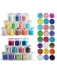 24 Farben Döschen Mix Glitter Nagel Pailetten Flitter Glitzer Glitterstaub Pailletten Puder Nail Art Set von Boolavard® TM.