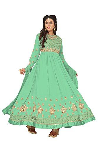 Ethnic Yard Latest Faux Georgette Party Wear Anarkali Salwar Kameez (Light Green)