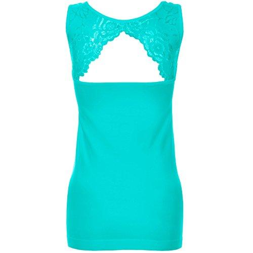 Femmes Débardeur Push Up Haut Shirt avec dentelle dehors Tissu de velours intérieur haut 20652 Turquois