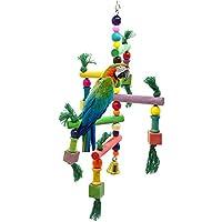Toruiwa Échelle Jouets Suspendus Bois pour Perroquets Perruche Petits Oiseaux