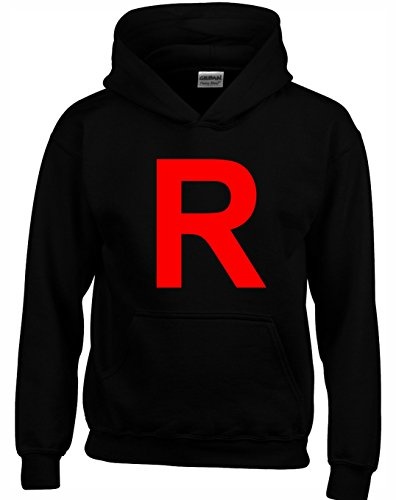 Designs by The Crown R Team Rocket Logo Pocket Monsters Inspired Gift Unisex Hoodies for Men, Women & Teenagers
