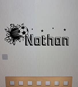 Personalised Football Wall Sticker, Any Name, Any Colour, Childs Bedroom.