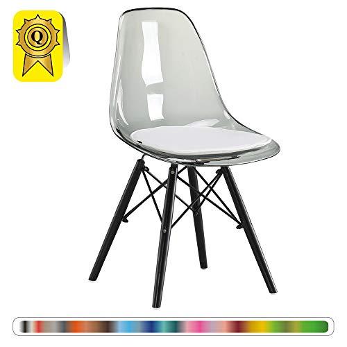 Decopresto 1 x Chaise Design Scandinave Transparent Gris Pieds Bois Noir DP-DSWB-TG-1