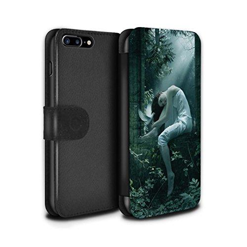 Officiel Elena Dudina Coque/Etui/Housse Cuir PU Case/Cover pour Apple iPhone 8 Plus / Coucher Soleil Design / Les Oiseaux Collection Âmes Blanches/Des Bois
