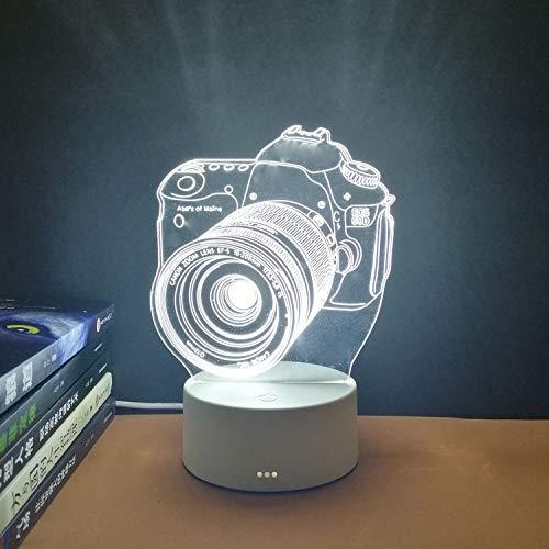 3d luce notturna interruttore plug-in USB comodino camera da letto led piccola lampada da tavolo decorazione dormitorio creativo regalo di festa fotocamera a tre colori rosso blu viola luce (3W)