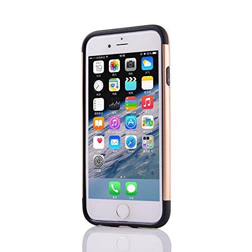 UKDANDANWEI Apple iPhone 6 Souple Flexible TPU Coque + Dur PC Case étui 2 in 1 Dual Layer Defender Armor Slim Frame Protecteur Back Cover Bumper Antichoc et Anti-rayures et Anti Dérapant für Apple iPh Beige