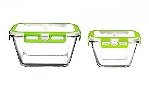 Pasabahce Storemax-Set Eckig 250.614 – 2er Set Frischhaltedose, Vorratsdose aus Glas mit Clip-Deckel, Gesamt-Volumen 1.170 ml (2 Stück)