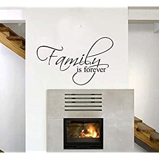 ufengke home Inspirational Family is Forever Quotes Wall Art Stickers Decorative Words Letters Simple Removable DIY Vinyl Wall Decals Living Room, Bedroom Mural