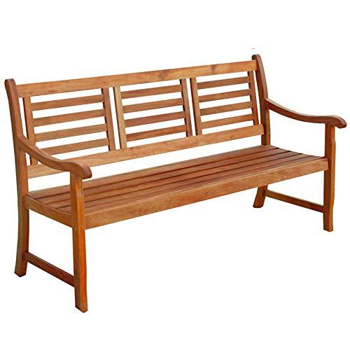 Indoba Design Gartenbank Eukalyptus 3-Sitzer Garten Bank Hochwertig Holz Holzbank draußen