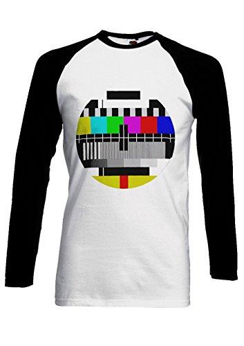 PatPat Store Test Pattern Vintage Retro TV Novelty Black/White Men Women Unisex Long Sleeve Baseball T Shirt-XXL
