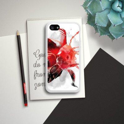 Apple iPhone 4 Housse Étui Silicone Coque Protection Poisson Art Poisson rouge Housse en silicone blanc