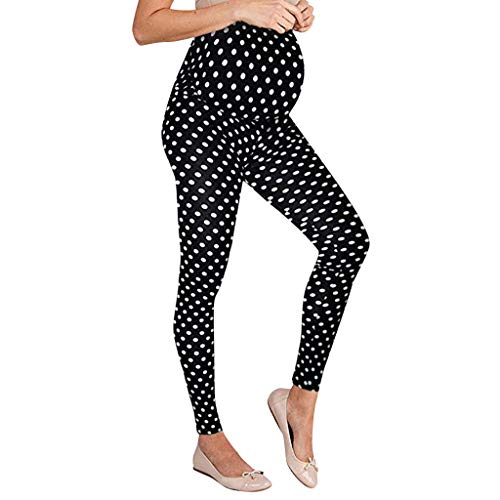 Kololy premaman pantaloni - pantaloni da donna di maternità leggings senza cuciture dot pantaloni stretch gravidanza(nero,l)