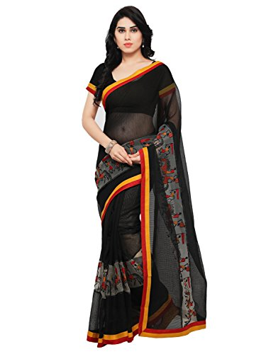 Blissta Women's Black Cotton Kanjivaram Work saree With Blouse Piece
