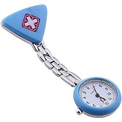 Facilla Watch Heart Rate Monitor Watch Fob Watch Quartz Nurse Watch Light Blue