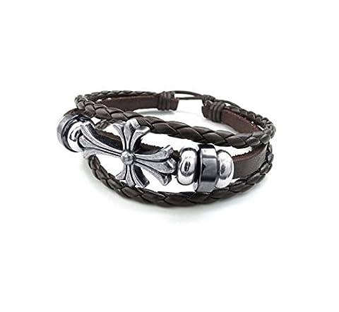 Most Beloved Unisex Horizontal Sideways Christian Cross Charm Leather Bracelet by Most Beloved