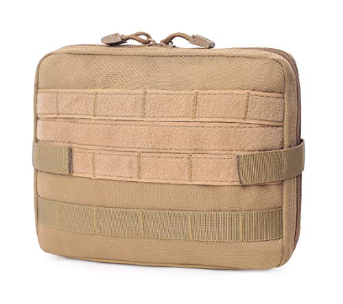 Zeato Tactical Security Multipurpose MOLLE Pouch Admin Gadget Utility Organizer EDC EMT First Aid Tools Bag on Vest or Backpack for Outdoor Hunting Hiking Camping - Tan