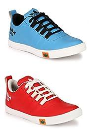 Lavista Men's Red And Sky-Blue Sneaker Casual Shoe