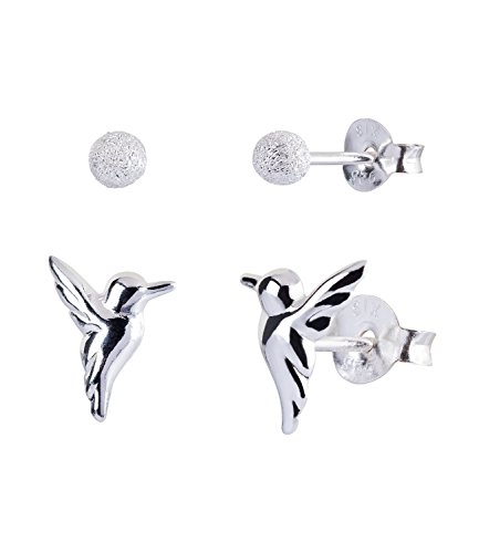 (SIX Silber Ohrschmuck Set, 2 Silber Ohrstecker,mit kleinen Perlen, Kolibri Vogel Ohrringen (773-052))