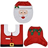 eLander Christmas decoration Santa toilet Set seat cover & rug & tissue box cover set Gift