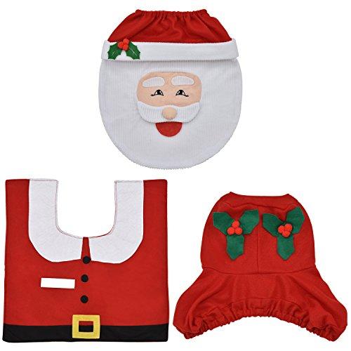 eLander Christmas decoration Santa toilet Set seat cover & rug & tissue box cover set Gift