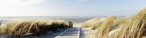 Artland Küchenrück-Wand Spritzschutz Hightech-Aluminium-Verbundplatten Eva Gruendemann Nordseestrand auf Langeoog - Steg Landschaften Strand Fotografie Creme A6WY (Küche Insel-restaurants)