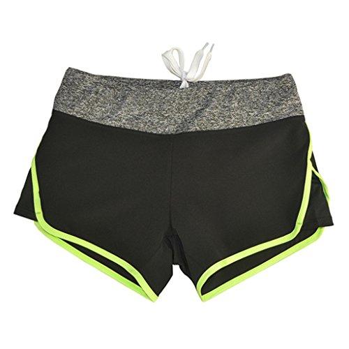 Short De Sport Féminin,Netspower Shorts Sports Femmes Pour Running Dance Jogging Cyclisme Séchage Rapide Respirant Vert fluorescent