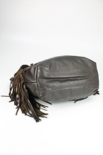 Belli bellissima ® «b» étui sac à shopping en cuir nappa à franges couleur 34 x 23 x 17 cm (l x h x p) Marron - Marron foncé