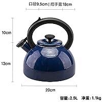 Kettle 琅 琅 Bola De Espesamiento De Cocina De Gas De Esmalte De Caldera Llamada Olla Casa Silbato Quema De Gas Tetera Japonesa,Azul,2.5L