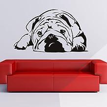 Bulldog Ingles Pegatina de Pared. Arte de Pared Perro disponible en 5 tamaños y 25 colores Medio Negro