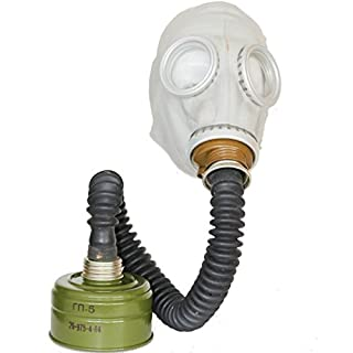 OldShop Gas Mask GP5 Set - Soviet Russian Military Gasmask REPLICA Collectable Item Set W/ Mask, Hose, Filter - Authentic Look Color: Grey | Size: M (2Y)