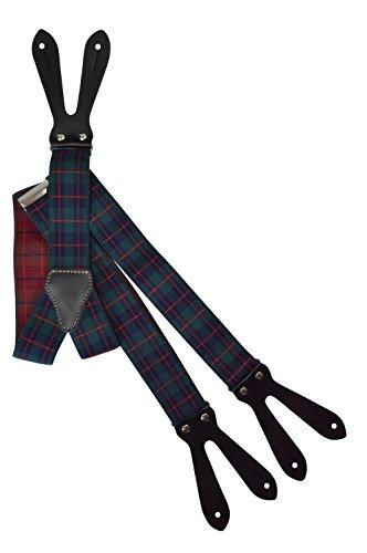 Bretelles pour Boutons avec Cuir Naturel et Motif, 3.5cm Vert, Bleu et Rouge Tartan