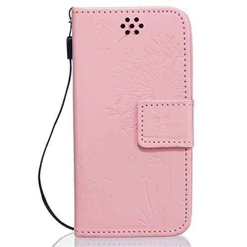 iPhone Case Cover Hochwertige Premium PU-Leder-Kasten-Abdeckungs-feste Farben-Löwenzahn-prägenmappe-Standplatz-Fall-Abdeckung für IPhone 5 5S SE ( Color : Gold , Size : IPhone 5S SE ) Pink