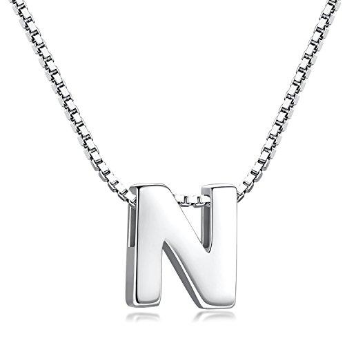 Candyfancy 925 Sterling Silber Halskette Buchstabe Anhänger Damen A-Z (N With Chain)
