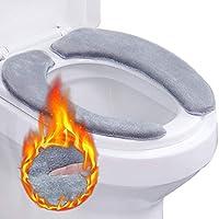 Outgeek 2PCS Toilet Seat Cover Memory Foam Washable Toilet Seat Pad Toilet Warmer Pad