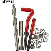 Godyluck 15 Unids Kit de Inserto de Reparación de Rosca Métrica M5 M6 M8 M10 M12 M14 Helicoil Car Pro Bobina Herramienta M12 * 1.5