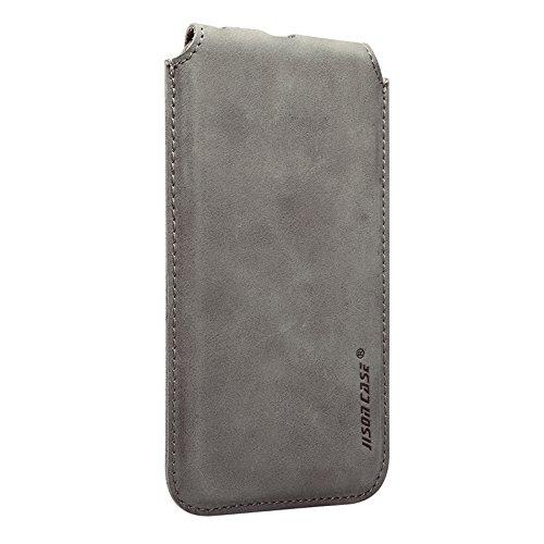 Jisoncase VINTAGE Ledertasche iPhone 6 Plus/ 6S Plus Hülle Tasche Case in klassische Farbe aus hochwertigem Leder braun JS-I6L-11A20 Grau