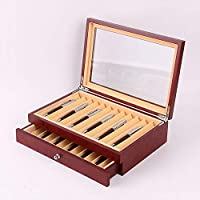 Ymayby Mens/Women Handcrafted 23 Pen Display Organiser Case with Top Glass Lid in Red Wood Grain 00023