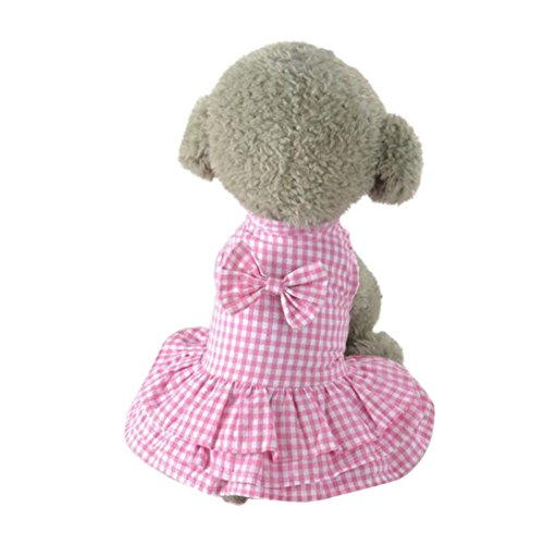 Hmeng Niedlicher Haustier Rock, süßer Bowknot Entwurfs Welpen Kleid Mädchen Hundekleidung (XS, Rosa) -