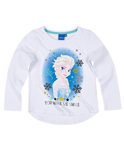 Disney frozen - il regno di ghiaccio ragazze maglietta maniche lunghe - bianco - 116