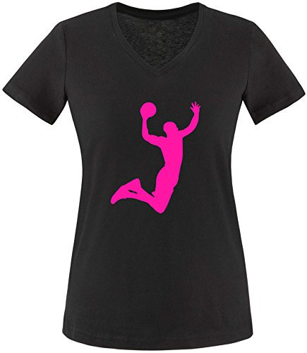 EZYshirt Basketball | Slam Dunk Damen V-Neck T-Shirt