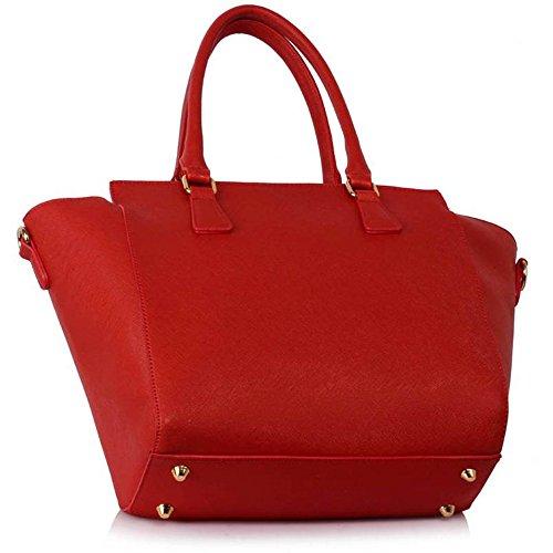 LeahWard® Damen Reißverschluss Handtaschen nett Groß Tote Schultertaschen 314 314A 502 Red