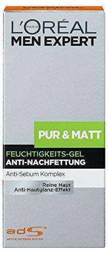 L'Oréal Men Expert Pur und Matt Pflege, Feuchtigkeits Gel, 1er Pack (1 x 50 ml) -
