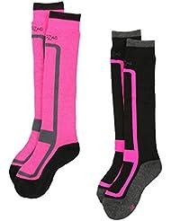 Ultrasport ZigZag Williams - Calcetines de esquí para niño, color rosa, tamaño 25-28