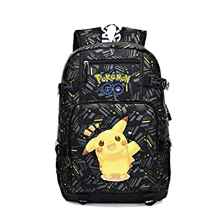 41qppLFUvUL. SS324  - Mochila Pokemon Escolar, Mochila Pokemon Go Pikachu Eevee Negro para Infantil Niños y Niñas Unisex Bolsa Portátil para Mujeres Hombre Viaje Backpack para Estudiantes Adolescentes